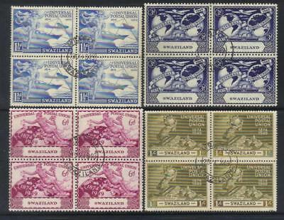 SWAZILAND 1949 75th ANNIV UPU USED SET OF 4 IN BLOCKS OF 4 CAT £42+
