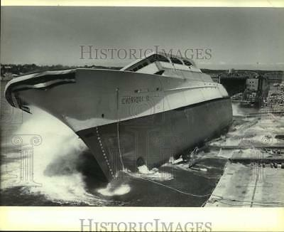 1981 Press Photo The Chiriqui II a tuna boat going into Sturgeon Bay, Wisconsin.