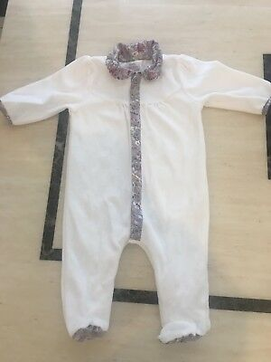 Mamas And Papas Liberty Girls Sleepsuit Babygrow All In One Pink Bow Floral 0-3
