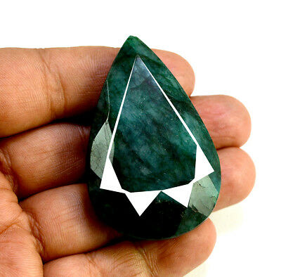 212ct Natural Faceted Pear Shape Dark Green Emerald Loose Gemstone for Pendant