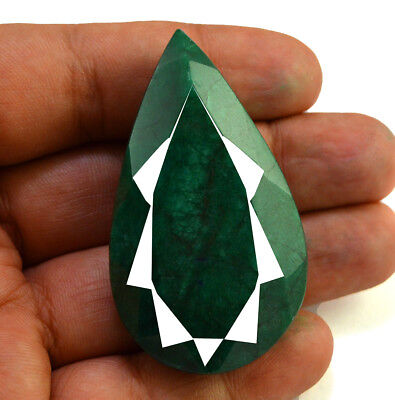 214ct Natural Faceted Pear Shape Dark Green Emerald Loose Gemstone for Pendant