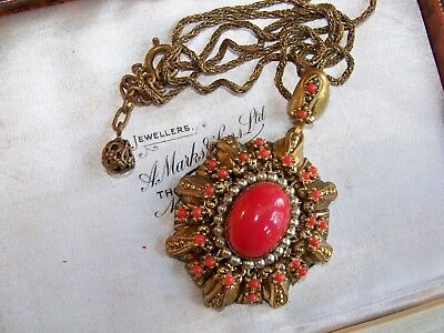 Vintage Art Deco Jewellery Czech Filigree Glass Coral Seed Pearl Necklace
