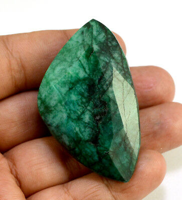 227ct Natural Faceted Fancy Pear Dark Green Emerald Loose Gemstone for Pendant