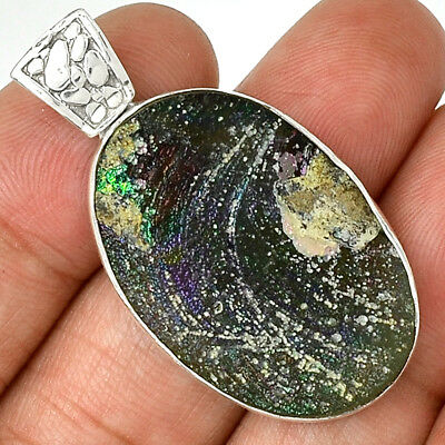 Ancient Roman Glass 925 Sterling Silver Pendant Jewelry AP13493