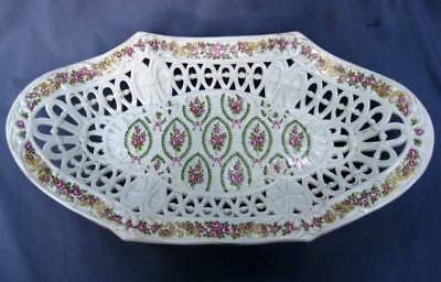 Vintage Schierholz Plaue German Porcelain Large Footed Reticulated Basket Bowl