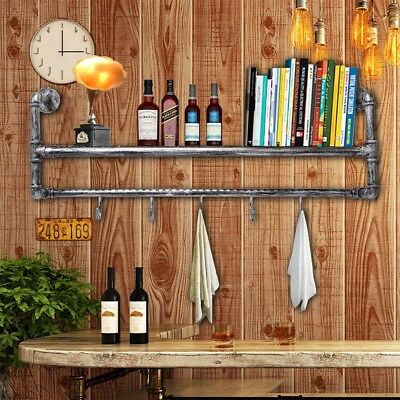 Metal Industrial Pipe Coat Rack with Shelf/Hall Way/Shelving/Rustic/Storage/Hook