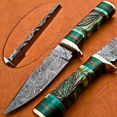 A.Kalis HAND MADE DAMASCUS HUNTING KNIFE - ENGRAVED STAINED CAMEL - BRASS GUARD