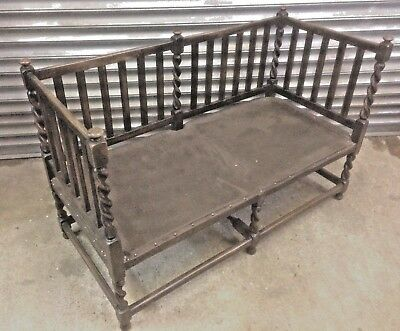 Charming old antique Victorian Oak barley twist double window bench or hall seat