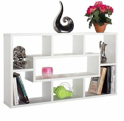 Stylish Floating Wall Shelves Display Shelf Bookshelf  7 storage White Unit
