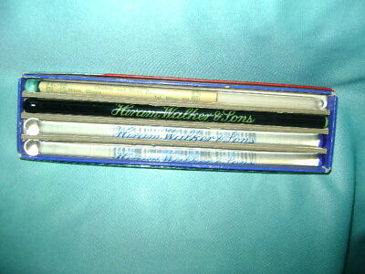 VINTAGE 4 GLASS ADVERTISING SWIZZLE STICKS in Box