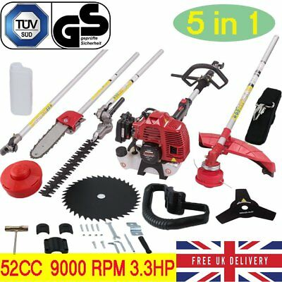 Petrol 5 in 1 Multi Tool 52cc 3.3HP Hedge Trimmer Strimmer Brushcutter Chainsaw