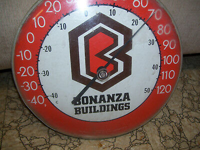 """Bonanza Buildings 12"""" Round Thermometer With A Big Fancy B In The Middle"""