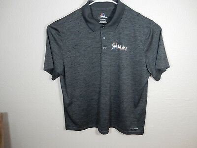 f6f5d673c Majestic Men's XXL Miami Marlins MLB Coolbase Short Sleeve 3 Button Polo -  EUC