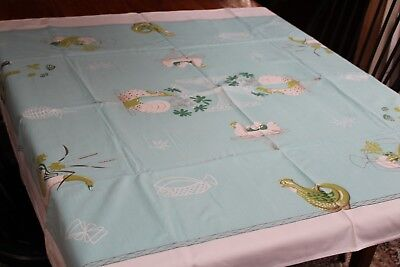 Vintage Cotton Kitchen Tablecloth 46x52 Roosters Geese Veggies