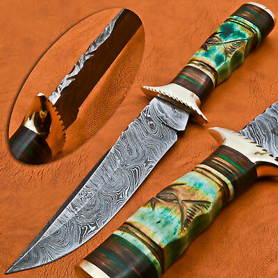 A.Kalis CUSTOM MADE DAMASCUS HUNTING KNIFE - ENGRAVED STAINED CAMEL - BRASS GUAR
