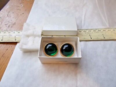Stunning Pair Of Ladies Vibrant Green Glass Costume Earrings By Lalique,france
