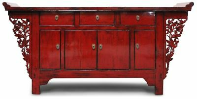 Chinesische Kommode in Rot aus Ulmenholz (177 cm) Asia Sideboard -AsienLifeStyle