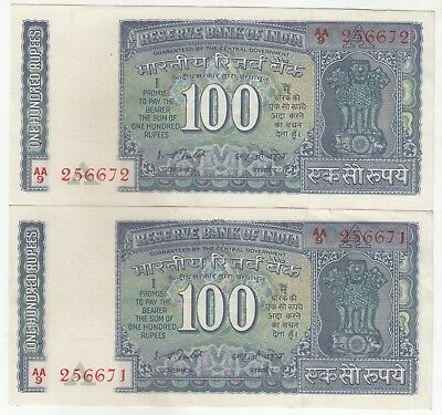 SET OF 2 Consecutive India 100 Rupees Dam Issue Banknote Pick: 64d in UNC/AUNC