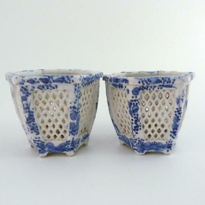 Pair Chinese Blue And White Porcelain Hexagonal Reticulated Incense Burners