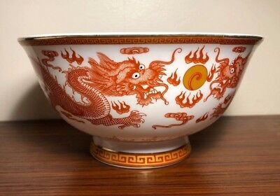 A very fine Chinese iron red dragon bowl with Qianlong stamped mark 19th century