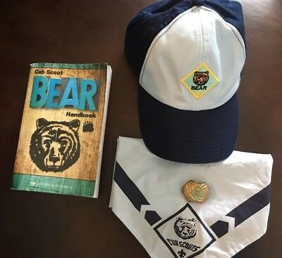 Cub Scout Bear Cap Hat, Handbook, Neckerchief, And Slide In Great Condition FP