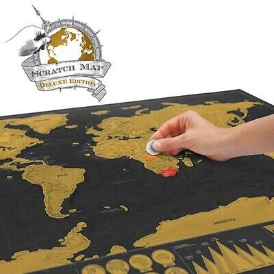 Deluxe Scratch Map - World Poster Scratch Off Travel Atlas Map