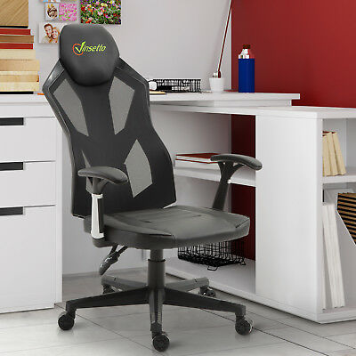 High Back Gaming Chair Racing Style PU Leather Mesh Ergonomic Swivel Office