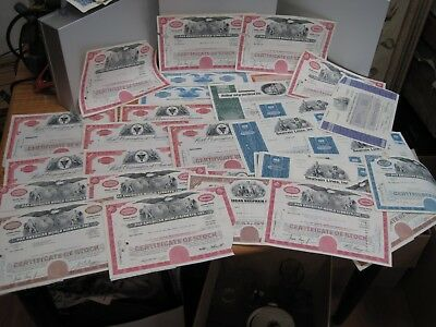 32 Old stock Certificate lot, Many Great Companies Pan Am Hotel Corp, Broadcast