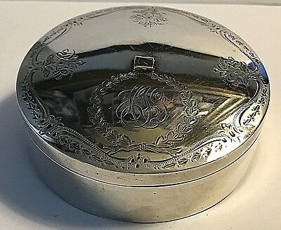 Antique Birks Sterling Silver Cartouche Scrolls Design Ribbon Box Sewing #45