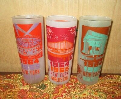 Vintage New York World's Fair 1964 1965 Lot Of 3 Glasses