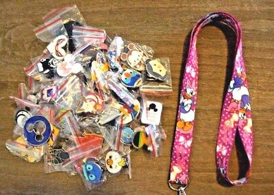 Disney World 25 Pin Trading Lot Lanyard Starter Set Pink Daisy Duck Polka Dots
