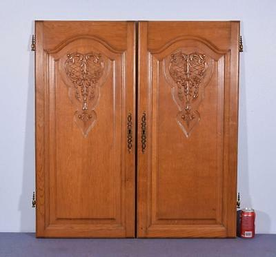 "*Pair of 37"" Vintage French Louis XV Carved Architectural Panels Doors Wood-Oak"