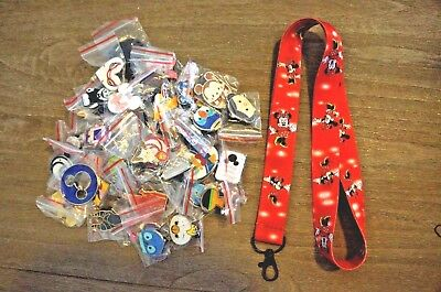 Disney World 25 Pin Trading Lot Lanyard Starter Set Red Minnie Mouse Diff Poses