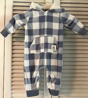 NWOT Carters Infant Hooded Jumpsuit Blue White Checks 3 Months