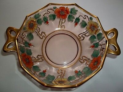 Antique Hand Painted Enamel Pink Glass Bowl With Gold Trim