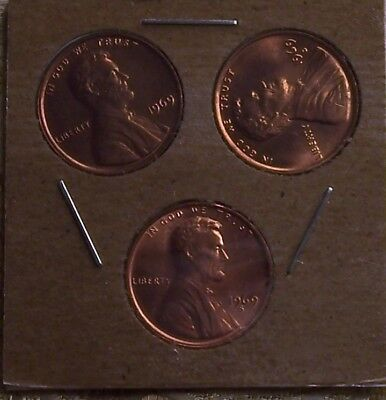 1969-P/D/S Lincoln Memorial Cent's  ( 3 COIN'S ) ( ITM#5300 )