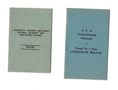 2 x Lynemouth Colliery Mechanics Rules cards. NUM & Sickness, & Accident schemes