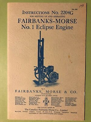 Original Fairbanks Morse Eclipse Hit Miss Engine Instruction Manual No 2204G