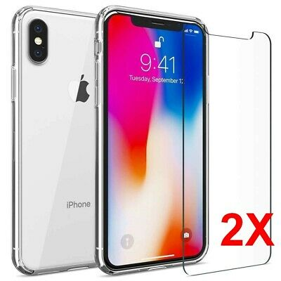 COQUE IPHONE X XS XR XS MAX + 2X VITRE  apple housse etui silicone transparent