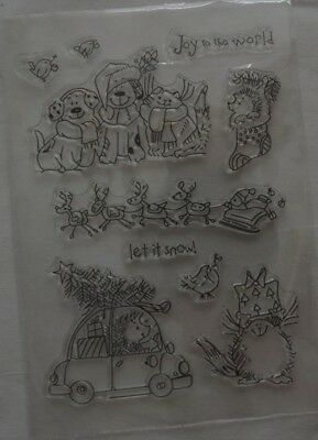 10 Stempel Clear Stamps Weihnachten der Tiere -Joy to the world-***
