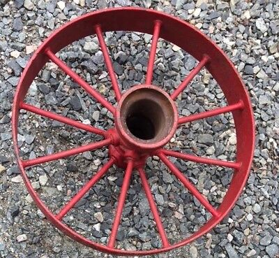 """Antique Cast Iron Spoked Fire Carriage Cart Wagon Tractor Implement Wheel 24"""""""