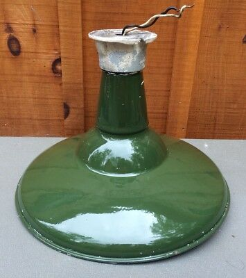 Antique Vintage BENJAMIN Green Porcelain Barn Gas Station Warehouse Light 16""