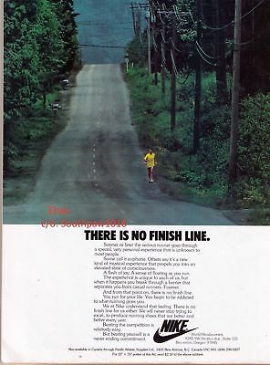 """Classic Nike """"There Is No Finish Line"""" Vintage Running Print Advertisement"""