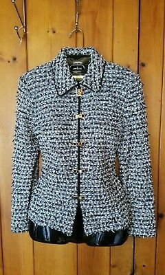 St John Collection black & white tweed fringe knit suit blazer jacket size 6
