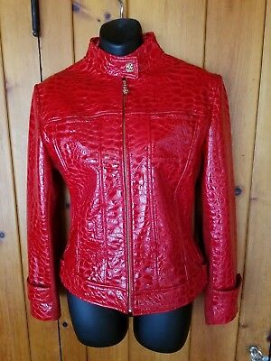 ST. JOHN Collection by Marie Gray Red Genuine Leather & Suede Jacket Size 6