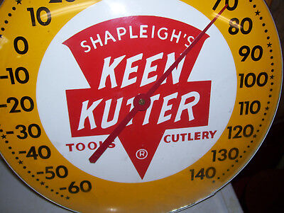 """N. Mint Shapleigh's Keen Kutter 12"""" Round Glass Dome Face Thermometer- Very Nice"""