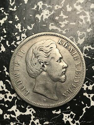 1875-D German States Bavaria 5 Mark Lot#X9956 Large Silver Coin! Low Mintage!