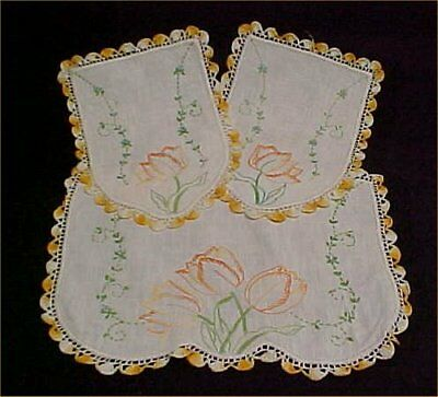 Vintage Antique Hand Embroidered Crocheted Doily Chair Set Shabby Tulips Chic