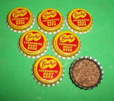 (6) Unused NOS 1950/60s Bireley's Root Beer Chisholm MN Cork Soda Btl Caps   A