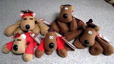 Burger King/Hallmark Rodney Reindeer Family-5 members-all have tags-Nice!